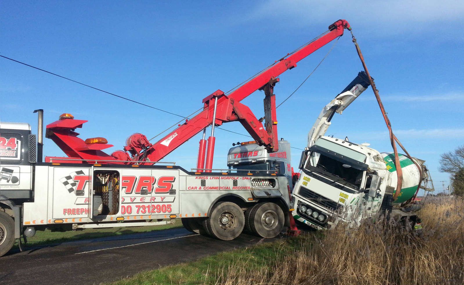 Recovery of a concrete mixing truck